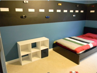 literally glued cars directly on the walls - Boys Room Ideas Cars