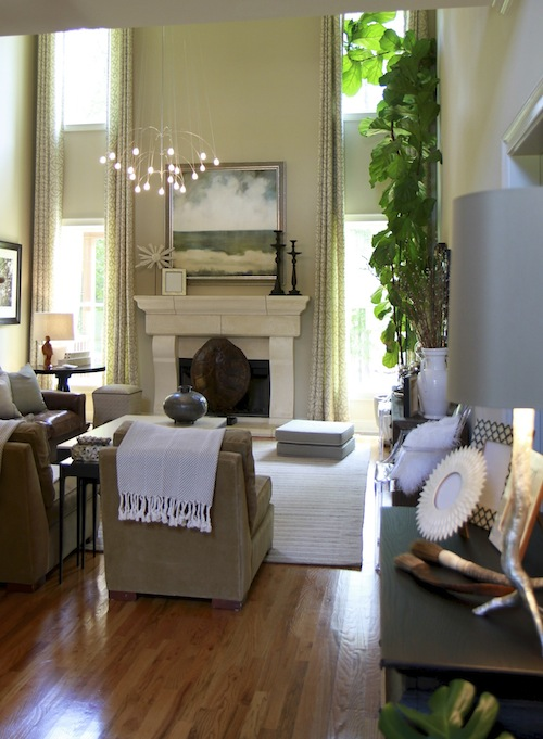 Cottage and vine decorating ideas for high ceilings for Great room lighting high ceilings
